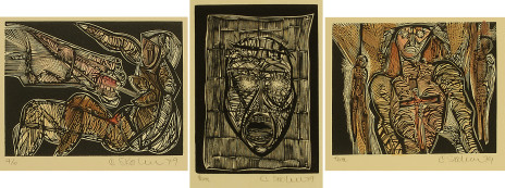 From 1979 series of 22 woodcuts. No. 12, Beast threatening woman; No. 7, Veronica's veil; No. 5, Warrior for Christ.